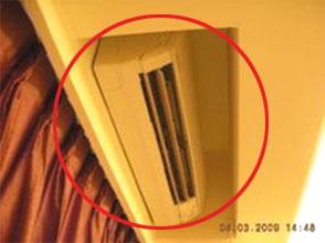 室內機安裝設計位置不良,導致無法完全發揮冷房能力