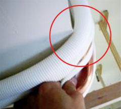銅管嚴重凹陷,造成冷媒系統異常