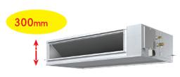 空調室內機採用薄型輕量化設定,使運送和冷氣空調系統的安裝變得更容易
