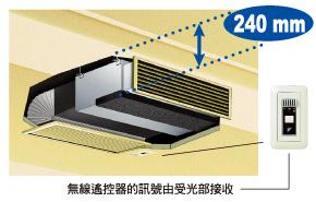 變頻冷氣機家用VRV隱藏式風管型,即使天花板夾層內高度只有 24 公分,也可輕鬆安裝